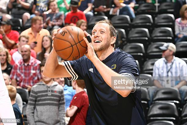 Joe Ingles of the Utah Jazz warms up before the game against the Los Angeles Clippers on April 8 2016 at Vivint Smart Home Arena in Salt Lake City...