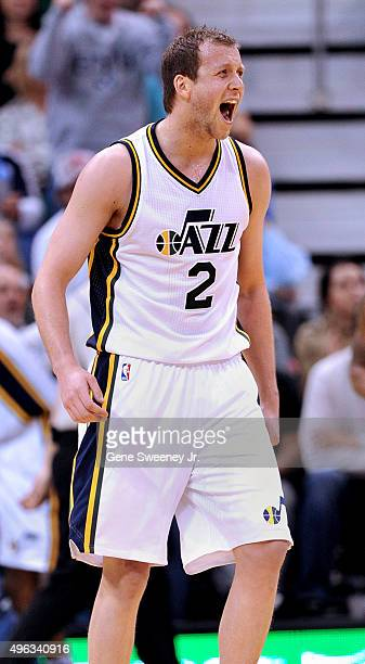 Joe Ingles of the Utah Jazz yells after a play against the Portland Trail Blazers at Vivint Smart Home Arena on November 4 2015 in Salt Lake City...