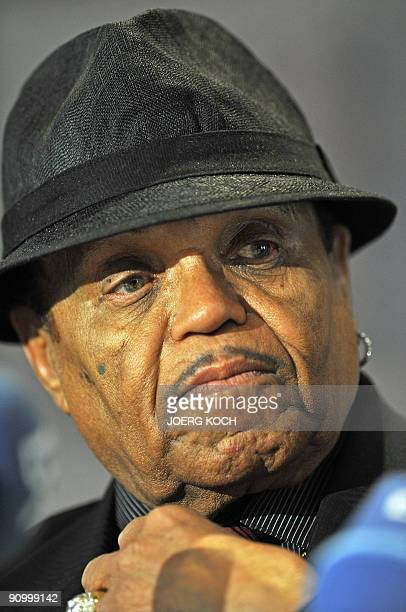 Joe Jackson father of late Michael Jackson addresses a press conference at the Atzelsberg castle in Marloffstein near Erlangen southern Germany on...
