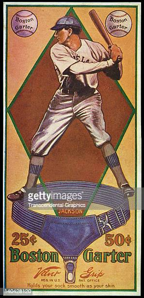 Joe Jackson is the subject of a baseball advertising card produced by the Boston Garter Company in Boston Massachusetts in 1914
