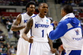 Joe Jackson of the Memphis Tigers reacts in the first half against the St Mary's Gaels during the second round of the 2013 NCAA Men's Basketball...