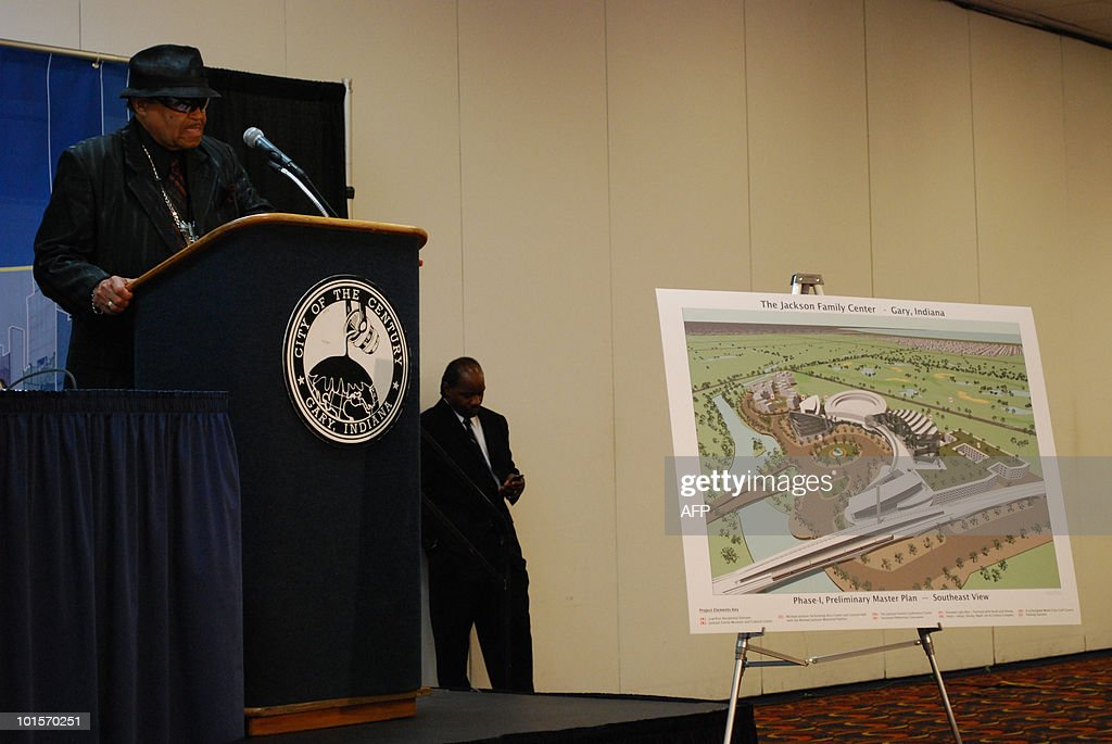 Joe Jackson speaks next to a poster of plans for the family museum complex at a press conference in Gary, Indiana on June 2, 2010. Nearly a year after pop icon Michael Jackson's death, his father has vowed to transform the industrial time with a 300 million dollar complex dedicated to Jackson family's musical legacy.