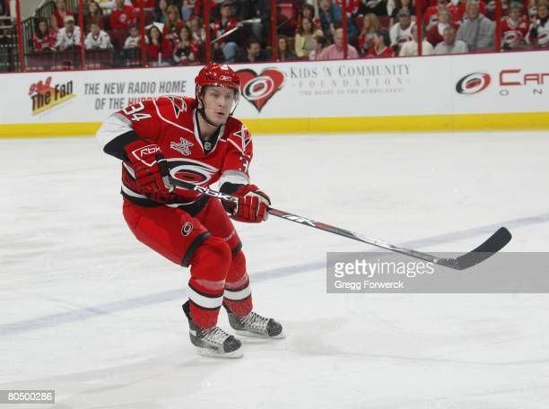 Joe Jensen of the Carolina Hurricanes skates into the offensive zone during their NHL game against the Atlanta Thrashers on March 28 2008 at RBC...