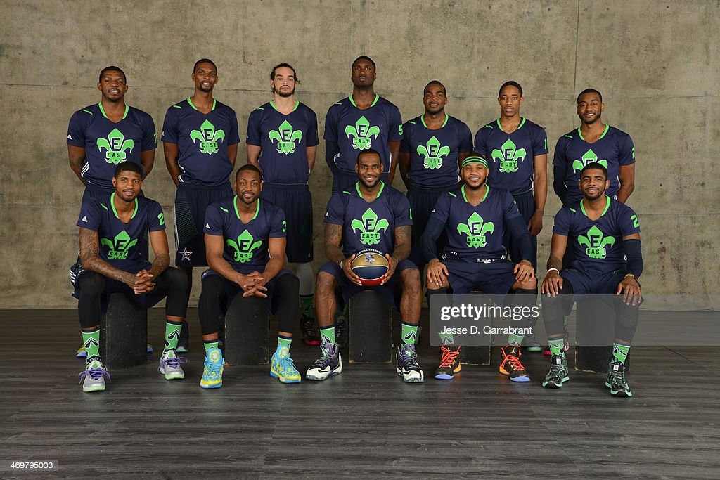 Joe Johnson #7, Chris Bosh #1, Joakim Noah #13, Roy Hibbert #55, Paul Millsap #4, DeMar DeRozan #10, John Wall #2, Paul George #24, Dwyane Wade #3, LeBron James #6 , Carmelo Anthony #7 and Kyrie Irving #2 of the Eastern Conference All-Stars pose for a portrait prior to the of the 2014 NBA All-Star Game on February 16, 2014 at the Smoothie King Center in New Orleans, Louisiana.