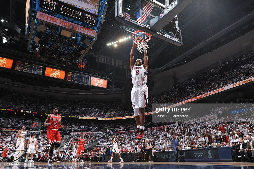 Joe Johnson #2 of the Atlanta Hawks dunks against the Chicago Bulls during Game Six of the Eastern Conference Semifinals in the 2011 NBA Playoffs on May 12, 2011 at Phillips Arena in Atlanta, Georgia.