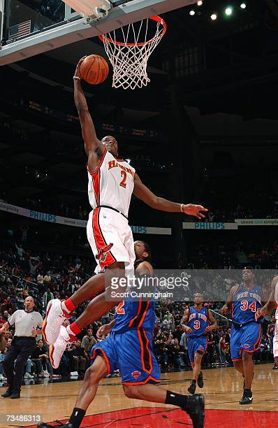 Joe Johnson of the Atlanta Hawks goes up for a layup against the New York Knicks at Philips Arena on March 3 2007 in Atlanta Georgia NOTE TO USER...
