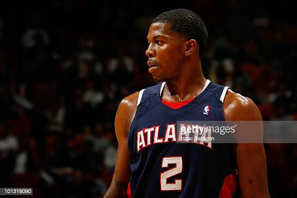 Joe Johnson of the Atlanta Hawks looks across the court during the game against the Miami Heat on March 6 2010 at American Airlines Arena in Miami...
