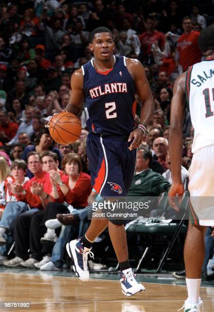 Joe Johnson of the Atlanta Hawks moves the ball up court against the Milwaukee Bucks in Game Four of the Eastern Conference Quarterfinals during the...