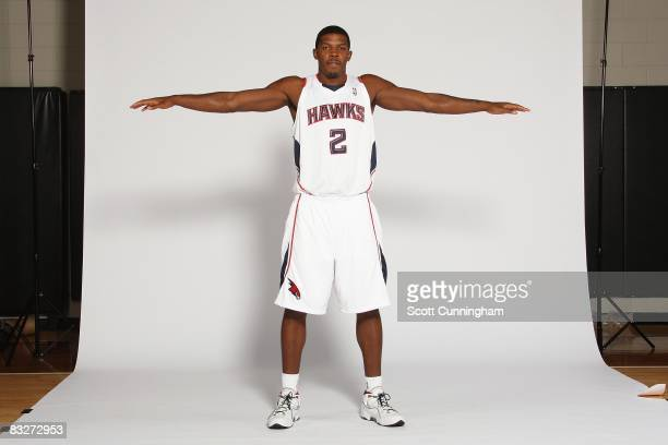Joe Johnson of the Atlanta Hawks poses for a portrait during NBA Media Day on September 29 2008 at Philips Arena in Atlanta Georgia NOTE TO USER User...