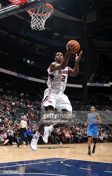 Joe Johnson of the Atlanta Hawks shoots against the Oklahoma City Thunder on March 4 2011 at Philips Arena in Atlanta Georgia NOTE TO USER User...