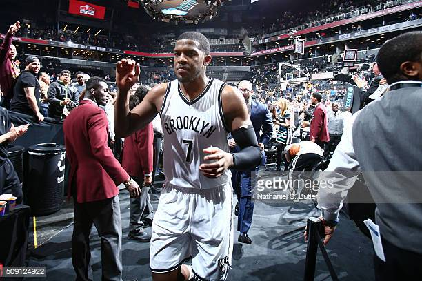 Joe Johnson of the Brooklyn Nets after the game against the Denver Nuggets on February 8 2016 at Barclays Center in Brooklyn New York NOTE TO USER...