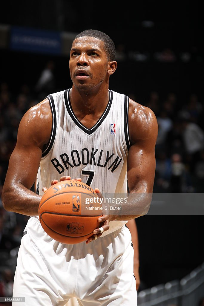 <a gi-track='captionPersonalityLinkClicked' href=/galleries/search?phrase=Joe+Johnson+-+Basketball+Player&family=editorial&specificpeople=201652 ng-click='$event.stopPropagation()'>Joe Johnson</a> #7 of the Brooklyn Nets attempts a foul shot against the Cleveland Cavaliers on November 13, 2012 at the Barclays Center in the Brooklyn Borough of New York City.
