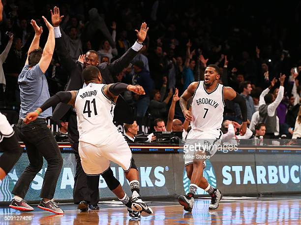 Joe Johnson of the Brooklyn Nets celebrates after hitting the gamewinning threepointer in the final second to beat the Denver Nuggets at the Barclays...