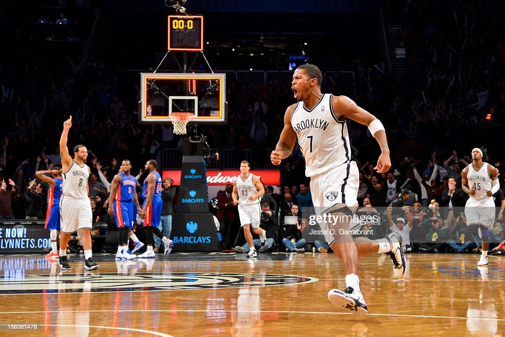 <a gi-track='captionPersonalityLinkClicked' href=/galleries/search?phrase=Joe+Johnson+-+Basketball+Player&family=editorial&specificpeople=201652 ng-click='$event.stopPropagation()'>Joe Johnson</a> #7 of the Brooklyn Nets celebrates after making the game-winning shot against the Detroit Pistons in double overtime at the Barclays Center on December 14, 2012 in the Brooklyn borough of New York City.