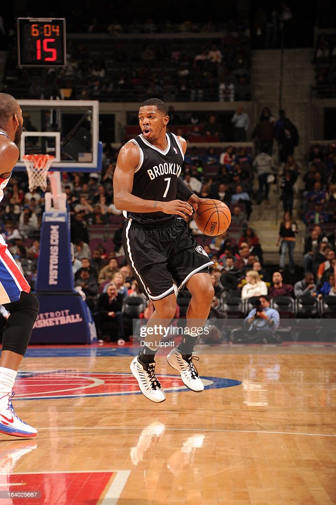 <a gi-track='captionPersonalityLinkClicked' href=/galleries/search?phrase=Joe+Johnson+-+Basketballer&family=editorial&specificpeople=201652 ng-click='$event.stopPropagation()'>Joe Johnson</a> #7 of the Brooklyn Nets controls the ball against against the Detroit Pistons on March 18, 2013 at The Palace of Auburn Hills in Auburn Hills, Michigan.