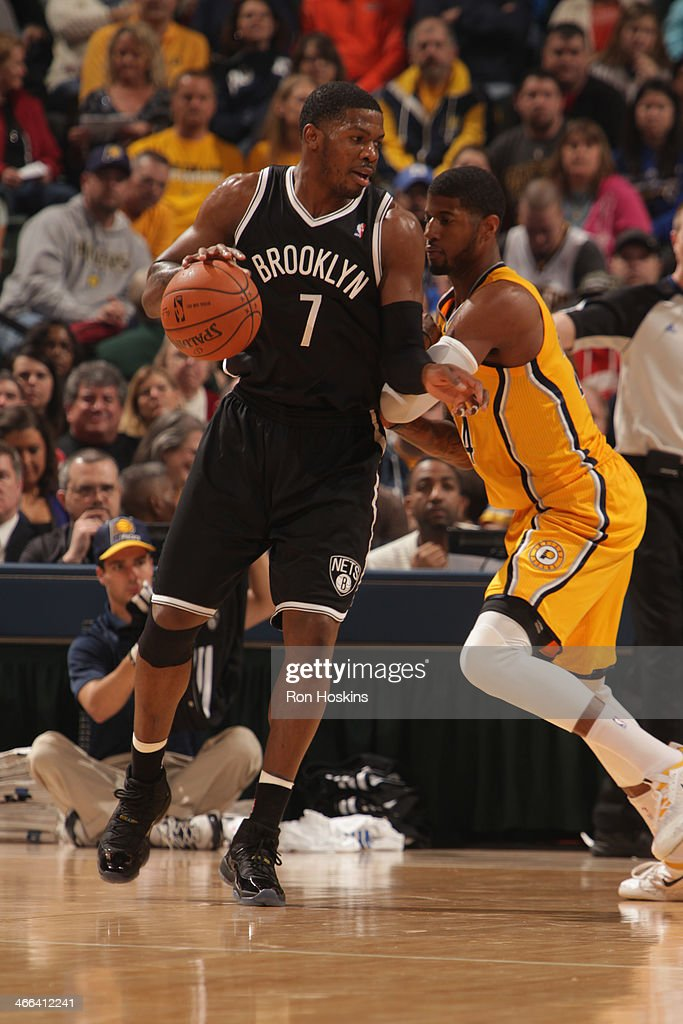 Joe Johnson #7 of the Brooklyn Nets controls the ball against the Indiana Pacers at Bankers Life Fieldhouse on February 1, 2014 in Indianapolis, Indiana.