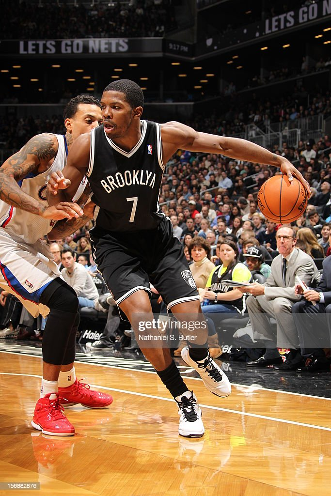 Joe Johnson #7 of the Brooklyn Nets dribbles against Matt Barnes #22 of the Los Angeles Clippers on November 23, 2012 at the Barclays Center in the Brooklyn Borough of New York City.