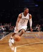 Joe Johnson of the Brooklyn Nets dribbles against the Barclays Center on April 4 2013 in New York City NOTE TO USER User expressly acknowledges and...