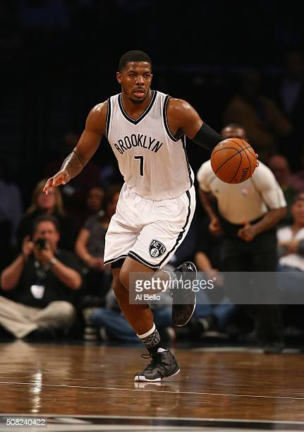 Joe Johnson of the Brooklyn Nets dribbles against the Indiana Pacers during their game at the Barclays Center on February 3 2016 in New York City...