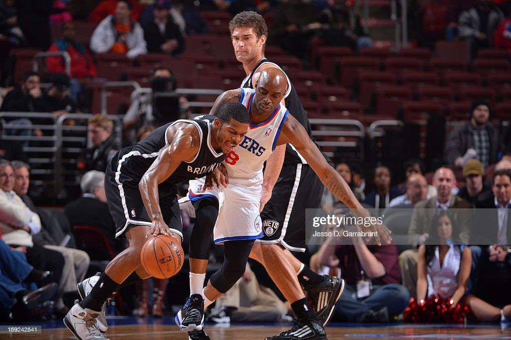 Joe Johnson #7 of the Brooklyn Nets dribbles the balll against the Philadelphia 76ers during the game at the Wells Fargo Center on January 8, 2013 in Philadelphia, Pennsylvania.