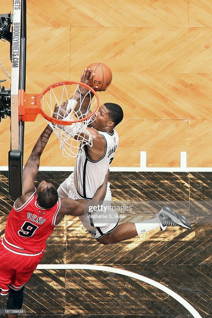 <a gi-track='captionPersonalityLinkClicked' href=/galleries/search?phrase=Joe+Johnson+-+Basketball+Player&family=editorial&specificpeople=201652 ng-click='$event.stopPropagation()'>Joe Johnson</a> #7 of the Brooklyn Nets drives to the basket against the Chicago Bulls in Game Two of the Eastern Conference Quarterfinals during the 2013 NBA Playoffs on April 22 at the Barclays Center in the Brooklyn borough of New York City.