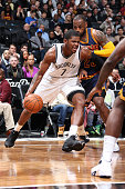 Joe Johnson of the Brooklyn Nets drives to the basket against the Cleveland Cavaliers on March 27 2015 at the Barclays Center in the Brooklyn borough...