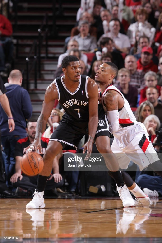 Joe Johnson #7 of the Brooklyn Nets drives to the basket against the Portland Trail Blazers on February 26, 2014 at the Moda Center Arena in Portland, Oregon.