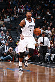 Joe Johnson of the Brooklyn Nets drives to the basket against the Boston Celtics during the preseason game on October 14 2015 at Barclays Center in...