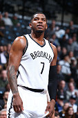 Joe Johnson of the Brooklyn Nets during the game against the Denver Nuggets on February 8 2016 at Barclays Center in Brooklyn New York NOTE TO USER...