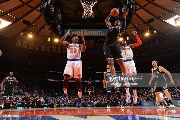 Joe Johnson of the Brooklyn Nets goes to the basket against the New York Knicks on December 2 2014 at Madison Square Garden in New York City NOTE TO...