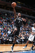 Joe Johnson of the Brooklyn Nets goes up for a shot against the Minnesota Timberwolves on March 16 2015 at Target Center in Minneapolis Minnesota...