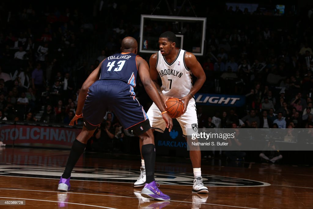 Joe Johnson #7 of the Brooklyn Nets handles the ball against the Charlotte Bobcats at the Barclays Center on February 12, 2014 in the Brooklyn borough of New York City.