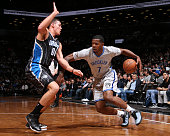 Joe Johnson of the Brooklyn Nets handles the ball against the Orlando Magic on April 15 2015 at the Barclays Center in the Brooklyn borough of New...