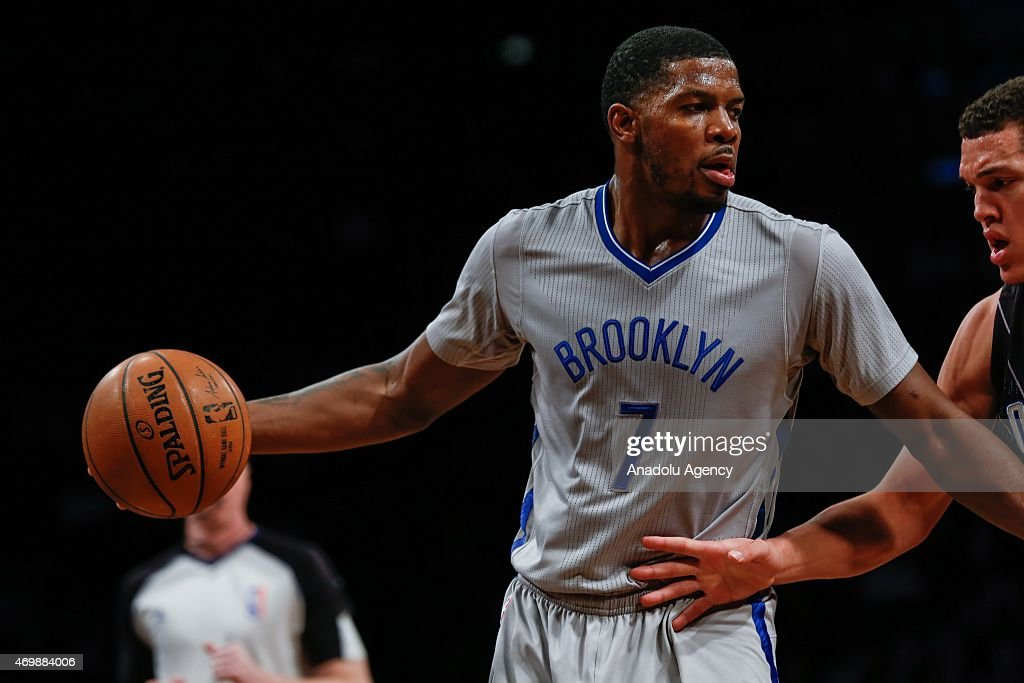 Joe Johnson of the Brooklyn Nets handles the ball against the Orlando Magic during an NBA basketball game at the Barclays Center in the Brooklyn borough of New York City on April 15, 2015.