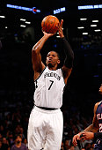 Joe Johnson of the Brooklyn Nets in action against the Atlanta Hawks during game six in the first round of the 2015 NBA Playoffs at Barclays Center...