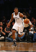 Joe Johnson of the Brooklyn Nets in action against the Indiana Pacers during their game at the Barclays Center on February 3 2016 in New York City...