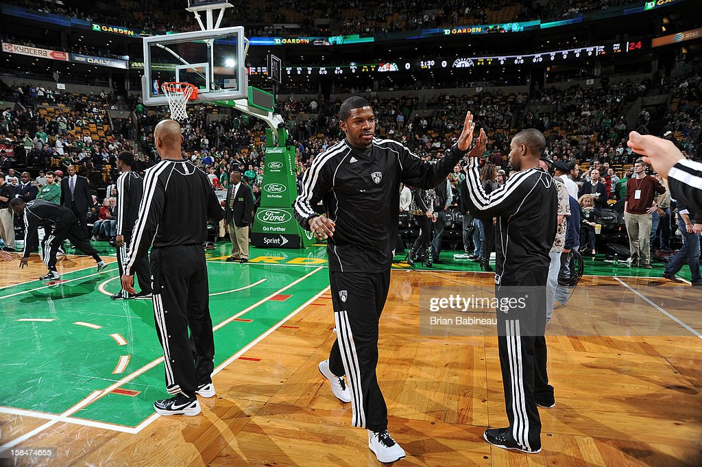 Joe Johnson #7 of the Brooklyn Nets is introduced against the Boston Celtics on November 28, 2012 at the TD Garden in Boston, Massachusetts.