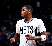 Joe Johnson of the Brooklyn Nets looks on during the game against the Orlando Magic on January 8 2016 at Barclays Center in the Brooklyn borough of...