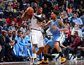 Joe Johnson of the Brooklyn Nets looks to control the ball against the Denver Nuggets on December 23 2014 at the Barclays Center in Brooklyn NY NOTE...