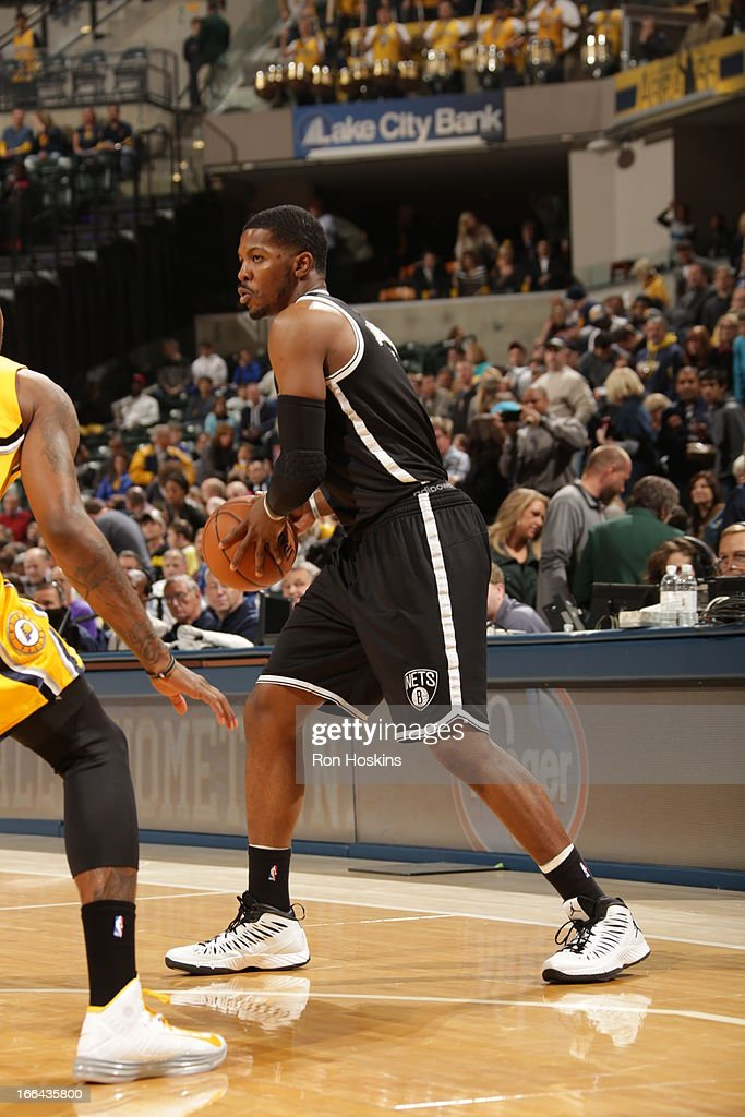 Joe Johnson #7 of the Brooklyn Nets looks to pass against the Indiana Pacers on April 12, 2013 at Bankers Life Fieldhouse in Indianapolis, Indiana.