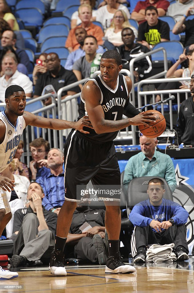 Joe Johnson #7 of the Brooklyn Nets looks to pass the ball against the Orlando Magic during the game on April 9, 2014 at Amway Center in Orlando, Florida.