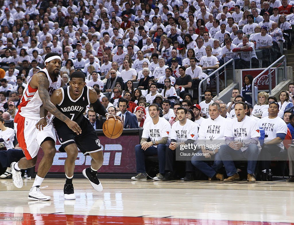 Joe Johnson of the Brooklyn Nets plays against John Salmons of the Toronto Raptors in Game Seven of the NBA Eastern Conference Quarterfinals at the...