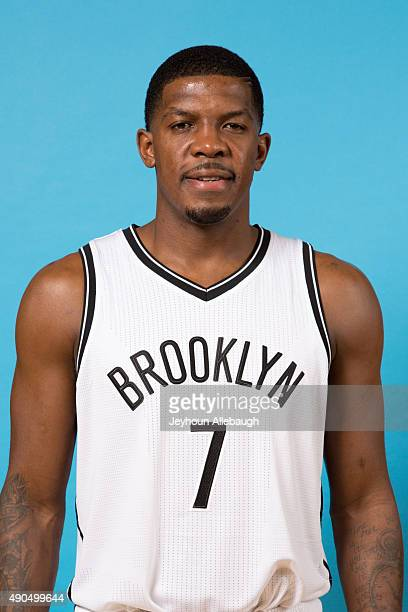 Joe Johnson of the Brooklyn Nets poses for a photo during media day on September 28 2015 in East Rutherford NJ NOTE TO USER User expressly...