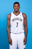 Joe Johnson of the Brooklyn Nets poses for a portrait during Media Day on September 30 2013 at Barclay's Center in Brooklyn Borough of New York New...