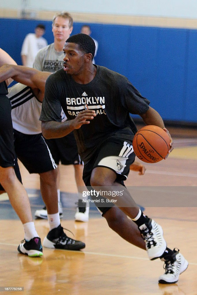 Joe Johnson #7 of the Brooklyn Nets practices during a team event in celebration of Veterans Day at Ft. Hamilton, Brooklyn on November 11, 2013 in the Brooklyn borough of New York City.