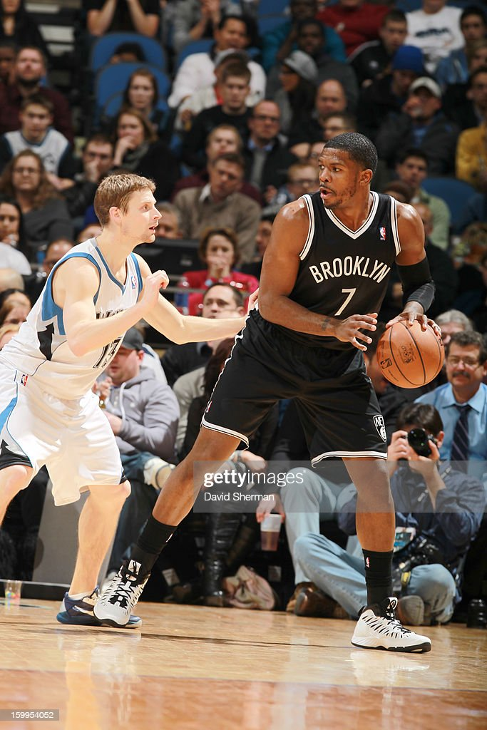 Joe Johnson #7 of the Brooklyn Nets protects the ball during the game between the Minnesota Timberwolves and the Brooklyn Nets on January 23, 2013 at Target Center in Minneapolis, Minnesota.