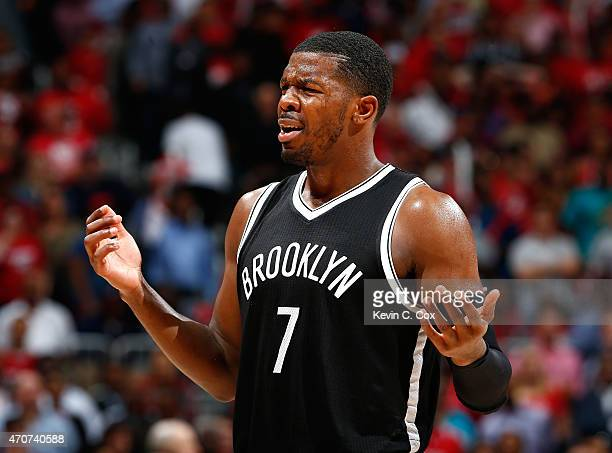Joe Johnson of the Brooklyn Nets reacts after being charged with a foul against the Atlanta Hawks during Game Two of the Eastern Conference...