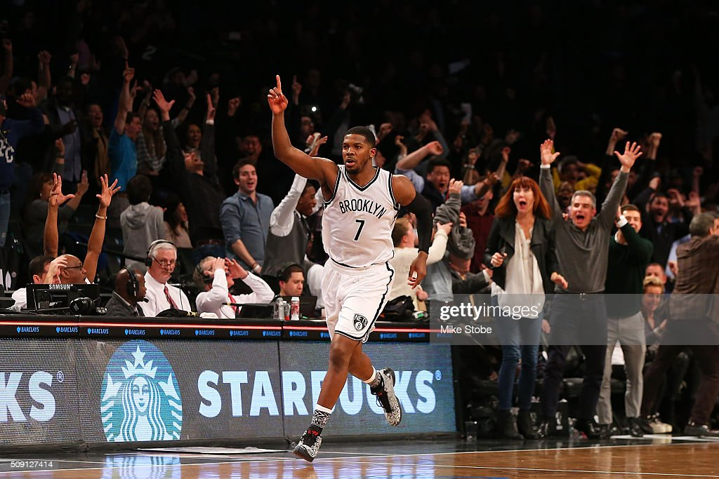 Joe Johnson of the Brooklyn Nets reacts after scoring the gamewinning threepointer in the final second to beat the Denver Nuggets at the Barclays...