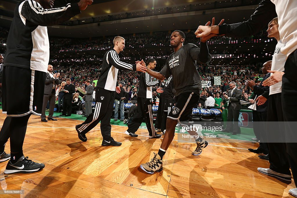 Joe Johnson #7 of the Brooklyn Nets runs out before the game against the Boston Celtics at TD Garden in Boston.