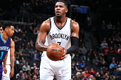 Joe Johnson of the Brooklyn Nets shoots a free throw against the Charlotte Hornets on February 21 2016 at Barclays Center in Brooklyn New York NOTE...